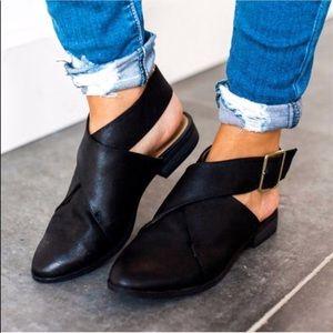 RESTOCKED 🖤 black vegan leather wrap flat bootie